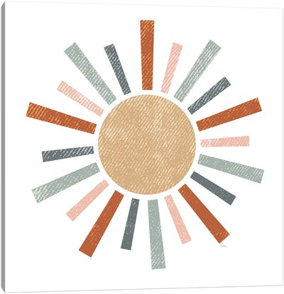 Rustic Rainbow Sun Canvas Art Print