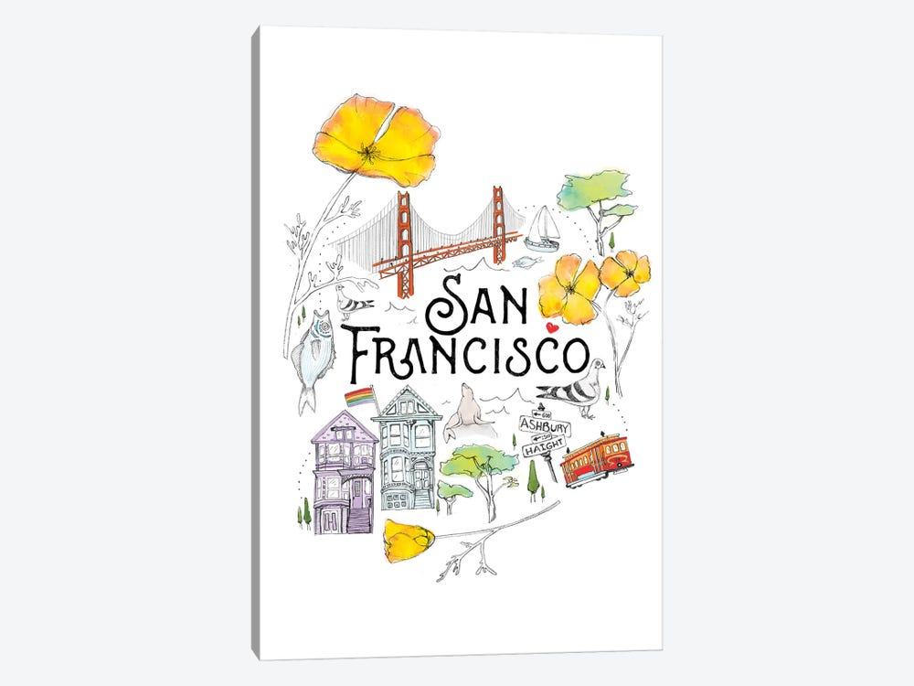 Friends & Neighbors, San Francisco by Heather Landis 1-piece Canvas Print