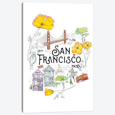 Friends & Neighbors, San Francisco Canvas Print #HLA12} by Heather Landis Canvas Artwork