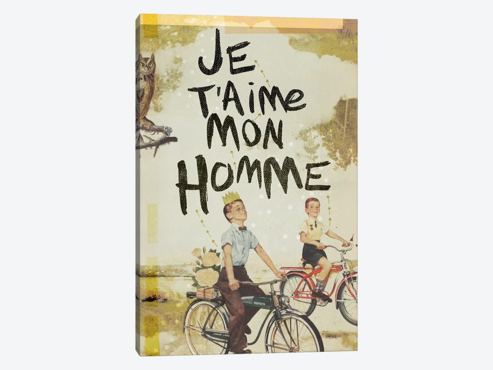 Je T'aime Homme by Heather Landis 1-piece Canvas Artwork