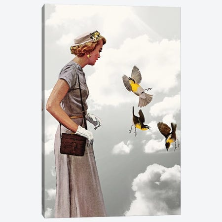 Lady In Gray Canvas Print #HLA19} by Heather Landis Canvas Wall Art