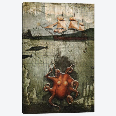 Paper Octopus 3-Piece Canvas #HLA28} by Heather Landis Art Print