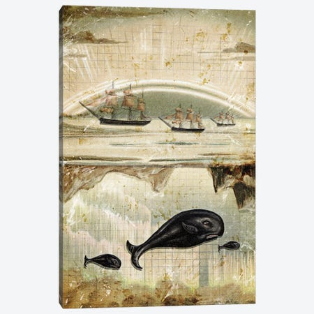 Paper Whale 3-Piece Canvas #HLA29} by Heather Landis Canvas Print