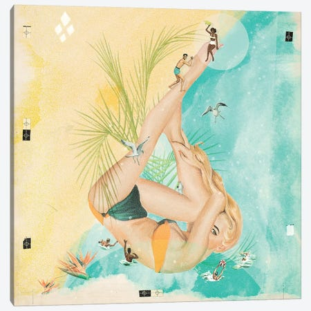 Beach Party II 3-Piece Canvas #HLA3} by Heather Landis Canvas Print