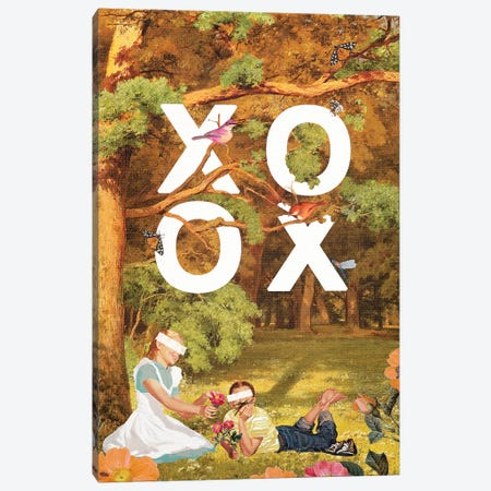 XOXO Valentine 3-Piece Canvas #HLA54} by Heather Landis Art Print