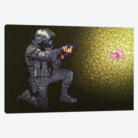 Crowd Control 3-Piece Canvas #HLL7} by Stephen Hall Art Print