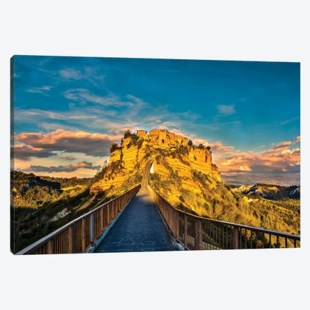 Italy, Civita, Bridge to Civita Canvas Print #HLO10} by Hollice Looney Canvas Art