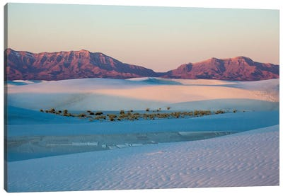 New Mexico. White Sands National Monument landscape of sand dunes and mountains I Canvas Art Print