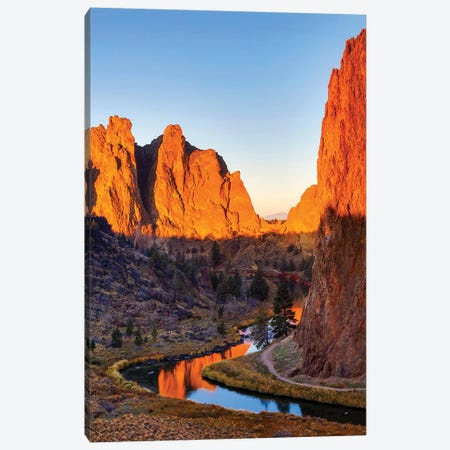 USA, Oregon, Bend. Smith Rock State Park, rock and reflections Canvas Print #HLO33} by Hollice Looney Canvas Artwork