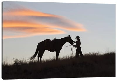 USA, Wyoming, Shell, The Hideout Ranch, Silhouette of Cowgirl with Horse at Sunset I Canvas Art Print