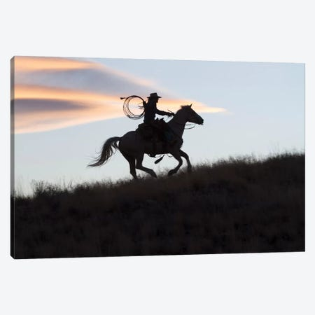 USA, Wyoming, Shell, The Hideout Ranch, Silhouette of Cowgirl with Horse at Sunset II Canvas Print #HLO44} by Hollice Looney Canvas Artwork