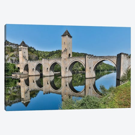 France, Cahors. Pont Valentre over the Lot river Canvas Print #HLO47} by Hollice Looney Canvas Wall Art