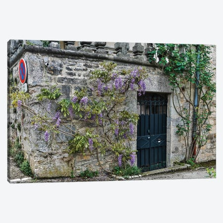 France, Cajarc. Wisteria covered stone wall and doorway. Canvas Print #HLO48} by Hollice Looney Canvas Art Print