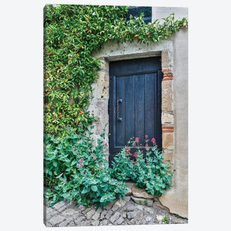 France, Cordes-sur-Ciel. Blue doorway Canvas Print #HLO49} by Hollice Looney Canvas Print