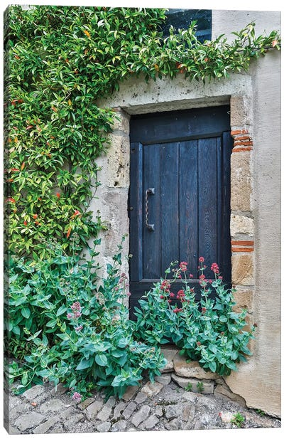 France, Cordes-sur-Ciel. Blue doorway Canvas Art Print