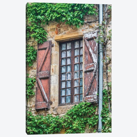 France, Cordes-sur-Ciel. Weathered shutters and window. Canvas Print #HLO50} by Hollice Looney Canvas Artwork