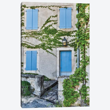 France, Lot River Valley. Home with blue shutters. Canvas Print #HLO53} by Hollice Looney Canvas Wall Art