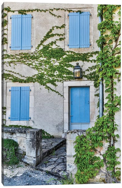 France, Lot River Valley. Home with blue shutters. Canvas Art Print