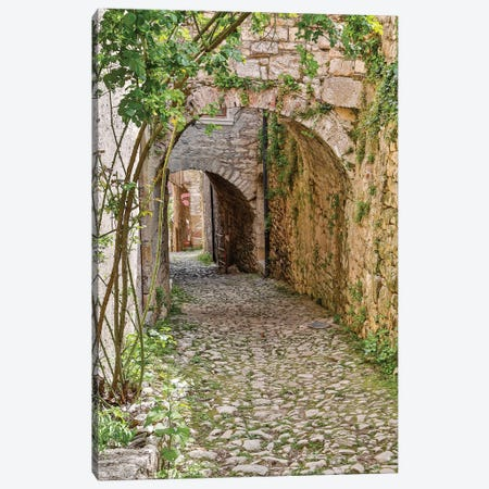 France, Saint-Cirq Lapopie. Tunneled walkway Canvas Print #HLO55} by Hollice Looney Canvas Print
