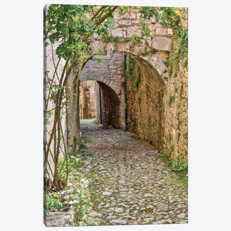 France, Saint-Cirq Lapopie. Tunneled walkway Canvas Print #HLO55} by Hollice Looney Canvas Print