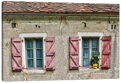 France, Saint-Cirq Lapopie. Windows and shutters. Canvas Art Print