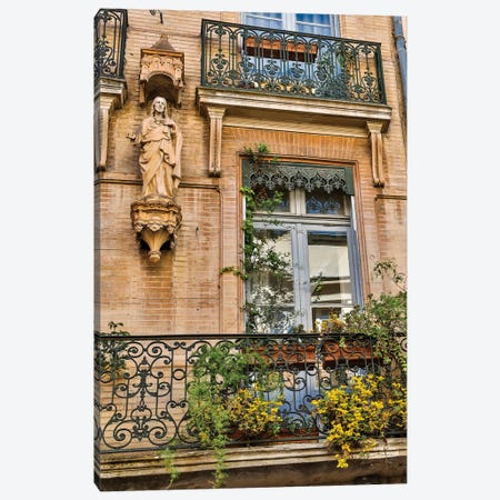 France, Toulouse. Balcony and door. Canvas Print #HLO58} by Hollice Looney Canvas Art