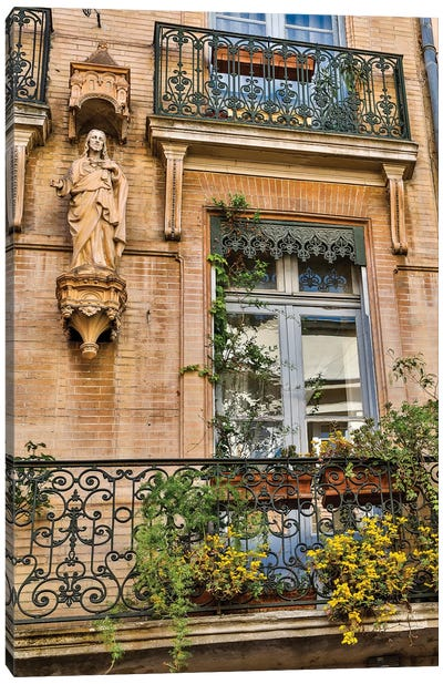 France, Toulouse. Balcony and door. Canvas Art Print