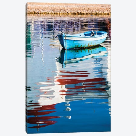 Greece, Mykonos, Hora, Fishing Boat and Reflection of a Church in the Water Canvas Print #HLO5} by Hollice Looney Canvas Wall Art