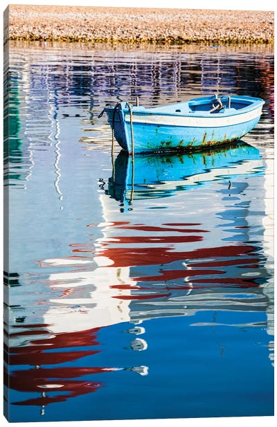 Greece, Mykonos, Hora, Fishing Boat and Reflection of a Church in the Water Canvas Art Print