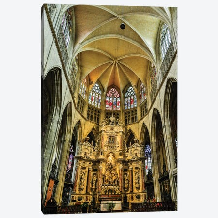 France, Toulouse. Cathedral of St. Etienne interior. Canvas Print #HLO60} by Hollice Looney Canvas Print