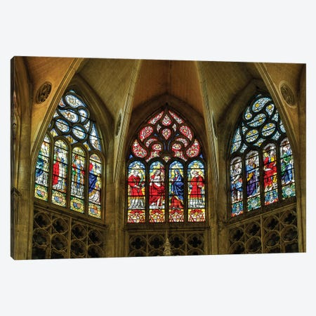 France, Toulouse. Cathedral of St. Etienne stained glass windows. Canvas Print #HLO61} by Hollice Looney Canvas Print