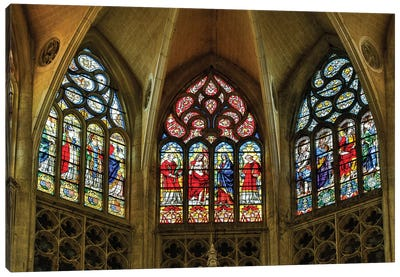 France, Toulouse. Cathedral of St. Etienne stained glass windows. Canvas Art Print