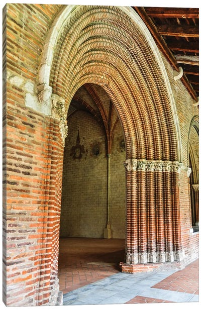 France, Toulouse. Church of the Jacobins arched entrance to the courtyard. Canvas Art Print