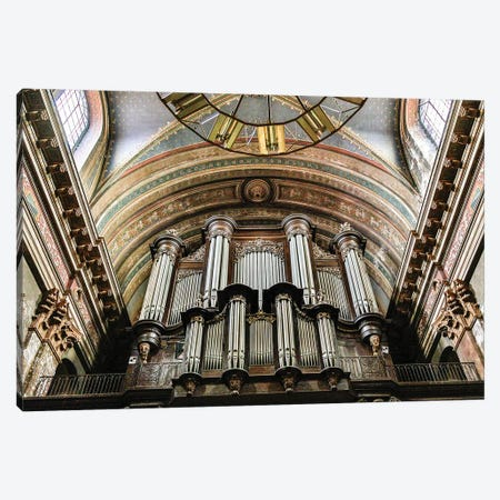 France, Toulouse. Church of the Jacobins organ pipes. Canvas Print #HLO64} by Hollice Looney Canvas Wall Art