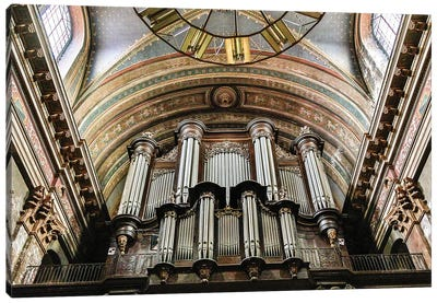 France, Toulouse. Church of the Jacobins organ pipes. Canvas Art Print