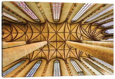 France, Toulouse. Church of the Jacobins vaulted ceiling. Canvas Art Print