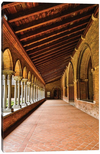 France, Toulouse. Columns of the inner courtyard at the Church of the Jacobins Canvas Art Print