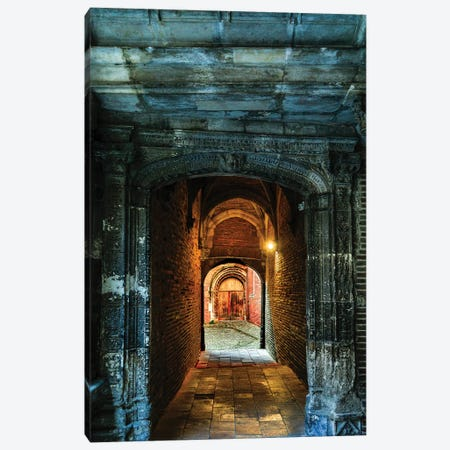 France, Toulouse. Tunnel leading to a courtyard Canvas Print #HLO69} by Hollice Looney Canvas Print