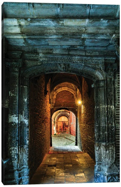 France, Toulouse. Tunnel leading to a courtyard Canvas Art Print