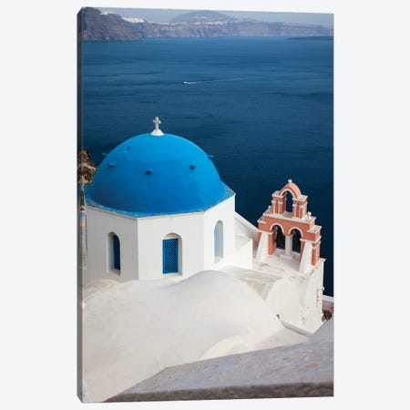 Greece, Santorini. Blue dome and bell tower Canvas Print #HLO6} by Hollice Looney Canvas Wall Art