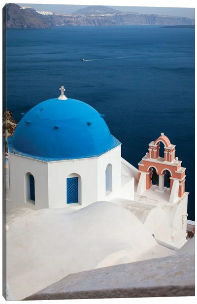 Greece, Santorini. Blue dome and bell tower Canvas Art Print