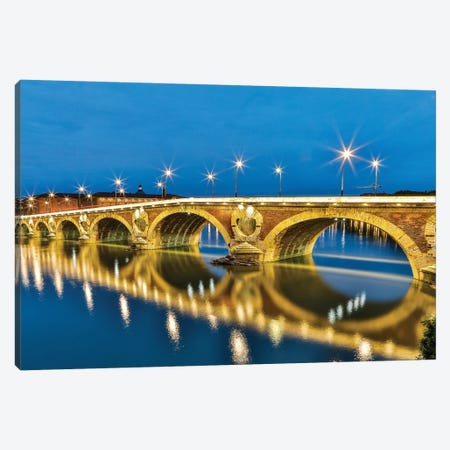 France, Toulouse. View of Pont Neuf and the Garonne River and reflections at sunset Canvas Print #HLO70} by Hollice Looney Canvas Wall Art