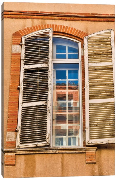 France, Toulouse. Window and shutters in the streets of Toulouse Canvas Art Print