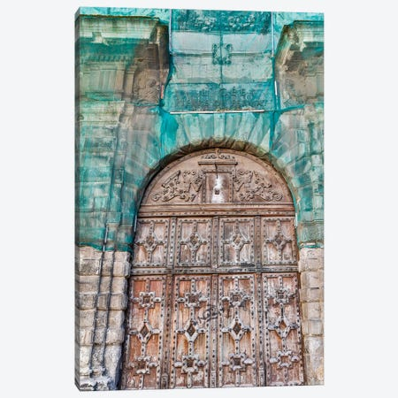 France, Toulouse. Wooden doorway Canvas Print #HLO72} by Hollice Looney Canvas Wall Art