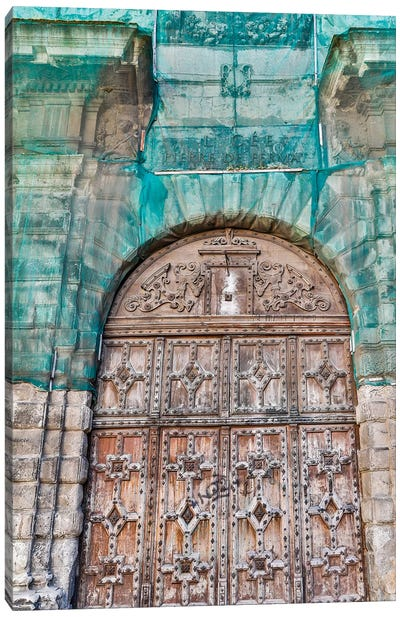 France, Toulouse. Wooden doorway Canvas Art Print