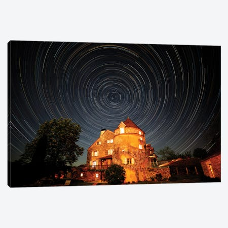 France, La Garrigue. Mas de Garrigue, star trails.  Canvas Print #HLO73} by Hollice Looney Canvas Wall Art