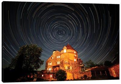 France, La Garrigue. Mas de Garrigue, star trails.  Canvas Art Print