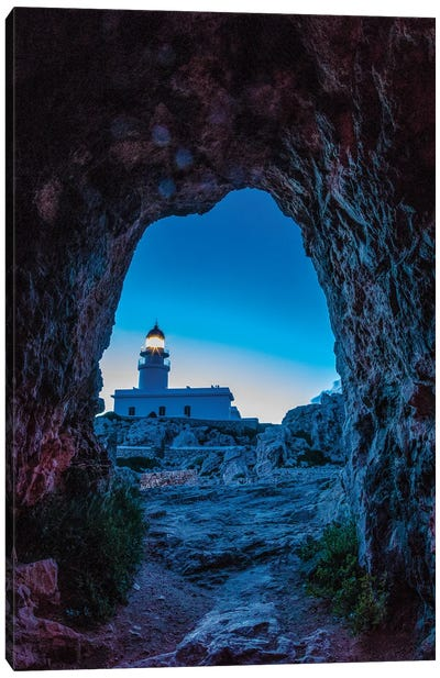 Spain, Menorca. Lighthouse at Cavalleria at sunrise. Canvas Art Print