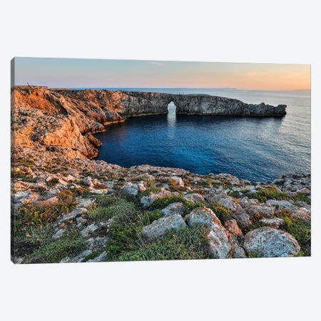 Spain, Menorca. Sunset at Pont d'En Gil (natural arch). Canvas Print #HLO75} by Hollice Looney Art Print