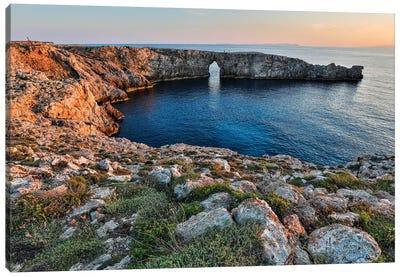 Spain, Menorca. Sunset at Pont d'En Gil (natural arch). Canvas Art Print